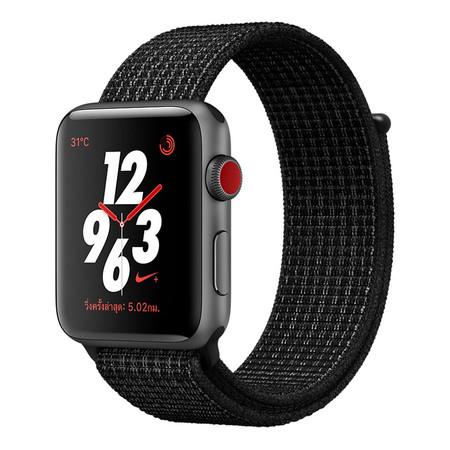 Apple Watch Nike+ Series 3 (รุ่น GPS + Cellular) ตัวเรือนอะลูมิเนียม สีเทาสเปซเกรย์ พร้อมสาย Nike Sport Loop สี Black/Pure Platinum 42 มม.