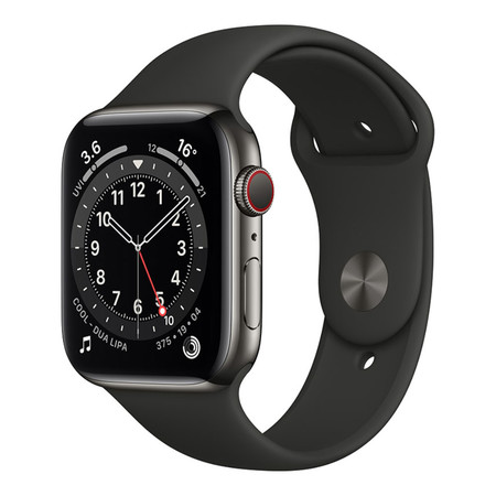 Apple Watch Series 6 GPS+Cellular 44mm Graphite Stainless Steel Case with Sport Band - Black