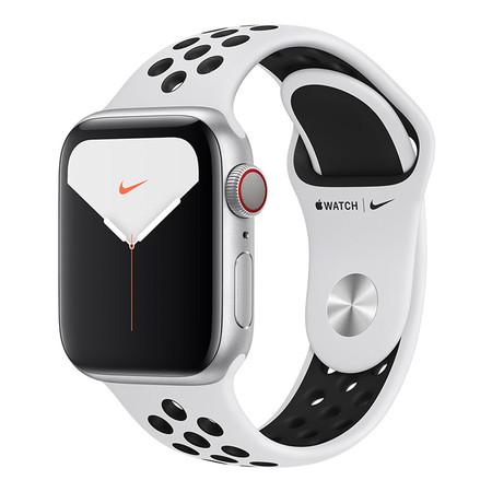 Apple Watch Nike+ ซีรีย์ 5 รุ่น GPS+Cellular ตัวเรือนอะลูมิเนียม สีเงิน พร้อมสาย Nike Sport Band สี Pure Platinum/Black ไซส์ 40 มม.