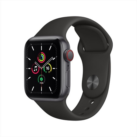 Apple Watch SE GPS+Cellular 40mm Space Gray Aluminum Case with Sport Band - Black