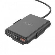 ORICO UCP-5P 52W 5 Port (1 QC3.0 Port) with Extension Cord Car Charger-Black