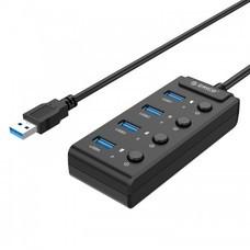 ORICO W9PH4-U3 4 Ports HUB + Individual Switch-Black