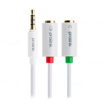 Prolink 3.5 ST plug to 2 x 3.5mm Sockets Audio+Mic - 0.2m (MP156)
