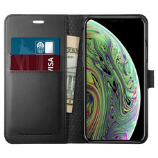 SPIGEN เคส Apple iPhone XS Case Wallet S : Black