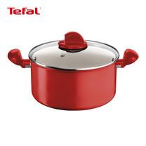 Tefal หม้อ 2 หู พร้อมฝาแก้ว 20 cm. Ceramic Colors Red Stewpot รุ่น C9044472