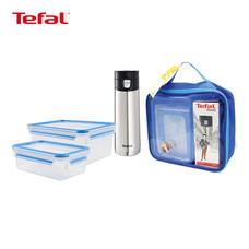 TEFAL ชุดแก้วน้ำสุญญากาศและกล่องถนอมอาหาร รุ่น GIFT20181 - สีเงิน/น้ำเงิน