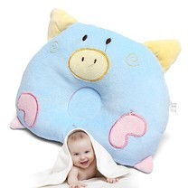 Abloom หมอนนอนเด็ก หมอน หัวทุย Baby Pillow Prevent Flat Head ดีไซน์ หมู ( สีฟ้า )