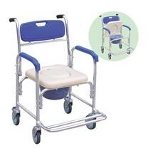 2 IN 1 เก้าอี้นั่งถ่าย เก้าอี้อาบน้ำ มีล้อ โครงอลูมิเนียม Commode Chair Shower Chair with Wheels