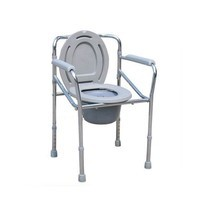 เก้าอี้นั่งถ่าย ปรับสูง-ต่ำได้ พับได้ Steel Folding Commode Chair- สีเทา