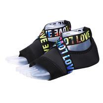 ถุงเท้าโยคะ พิลาทิส กันลื่น (สีดำสายคาดพิมพ์ LOVE Size S) Half Toe Yoga Pilates Shoes Five-Toe Grip Non-Slip Socks