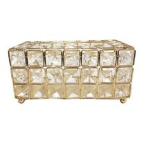 Orzer กล่องทิชชู่ สีใส คริสตัล ขอบทอง Crystal Gold Tissue Box