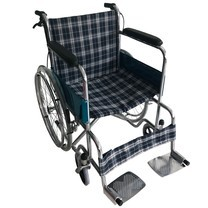Wheelchair รถเข็น ผู้ป่วย เหล็กชุบ พับได้ รุ่นมาตรฐาน พร้อมเบรคมือ - Blue