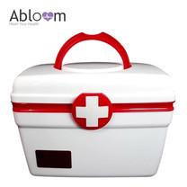 กล่องยา ปฐมพยาบาล 2 ชั้น 2-Layer First Aid Kit Box Medicine Storage (Size L) - สีขาว/แดง