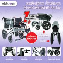 รถเข็นผู้ป่วย น้ำหนักเบา พับพนักพิงหลังได้ ล้อเล็ก - สีเทา Deluxe Lightweight Foldable Steel Wheelchair - Gray