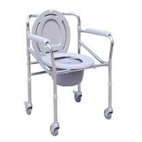 เก้าอี้นั่งถ่าย เหล็กชุบ พับได้ ปรับระดับได้ Foldable Steel Commode Chair, Height Adjustable รุ่นมีล้อ
