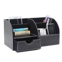 กล่องเครื่องเขียน อุปกรณ์จัดเก็บบนโต๊ะ Stationery Storage Desk Organizer (แบบที่1 สีดำ)
