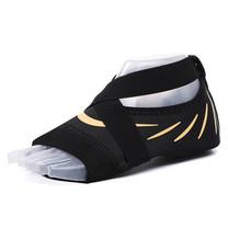 ถุงเท้าโยคะ พิลาทิส กันลื่น (สีดำลายเส้นเหลือง Size XL) Half Toe Yoga Pilates Shoes Five-Toe Grip Non-Slip Socks