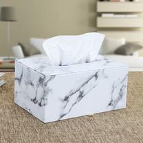 Orzer กล่องทิชชู่ ลายหินอ่อน ของแต่งบ้าน Tissue Box Luxury Marble Collection สีขาว