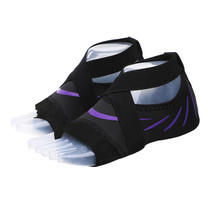 ถุงเท้าโยคะ พิลาทิส กันลื่น (สีดำลายเส้นสีม่วง Size XL) Half Toe Yoga Pilates Shoes Five-Toe Grip Non-Slip Socks