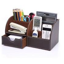 กล่องเครื่องเขียน อุปกรณ์จัดเก็บบนโต๊ะ Stationery Storage Desk Organizer (แบบที่2 สีน้ำตาล)