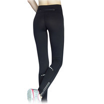 กางเกงออกกำลังกาย ขายาว มีซิป (สีดำ)