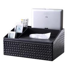 กล่องทิชชู่ เครื่องเขียน กล่องจัดเก็บบนโต๊ะ Tissue Box Stationery Organizer (ถักทอสีดำ)