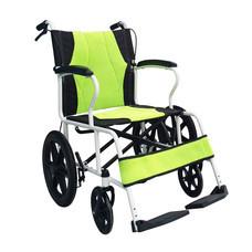 รถเข็นผู้ป่วย น้ำหนักเบา พับพนักพิงหลังได้ ล้อเล็ก Lightweight Foldable Steel Wheelchair (เบาะสีเขียว)