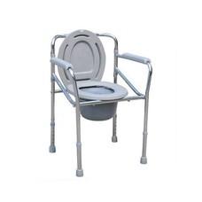 เก้าอี้นั่งถ่าย ปรับสูง-ต่ำได้ พับได้ Steel Folding Commode Chair- สีเงิน
