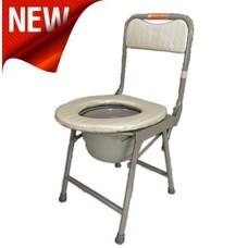 เก้าอี้นั่งถ่าย กะทัดรัด มีพนักพิง พับได้ Foldable Compact Size Commode Chair