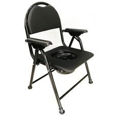 เก้าอี้นั่งถ่าย พร้อมพนักพิง พับได้  - สีดำ (NEW) Commode Chair