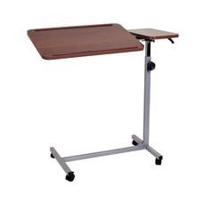 โต๊ะคร่อมเตียงหน้าไม้ แบบเอียงได้ ปรับระดับได้ Deluxe Overbed Table with Twin Top