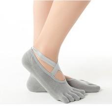 ถุงเท้าโยคะ แยกนิ้ว มีปุ่มกันลื่น แบบปิดนิ้วเท้า Non-Slip Yoga Socks 1 คู่ (4 สีให้เลือก)