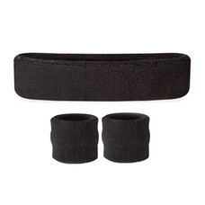 Set ผ้าคาดศีรษะ และ ผ้ารัดข้อมือ ซับเหงื่อ Gym Headband and Wrist Support Sports Towel 1 คู่