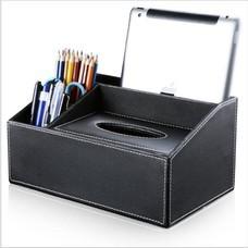 กล่องทิชชู่ เครื่องเขียน กล่องจัดเก็บบนโต๊ะ Tissue Box Stationery Organizer (สีดำเรียบ)