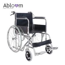 Abloom รถเข็นผู้ป่วย เหล็กชุบ (พับได้) รุ่น มาตรฐาน พร้อมเบรคมือ - Black