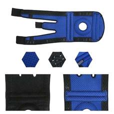 อุปกรณ์พยุงเข่า ซัพพอร์ตเข่า มีรูเปิดตรงลูกสะบ้า Knee Support, Free Size  (สีดำ/น้ำเงิน) - ข้างซ้าย