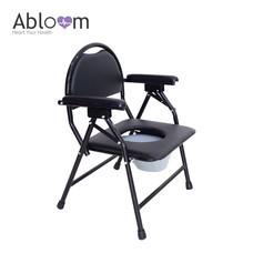 Abloom เก้าอี้นั่งถ่าย Foldable Commode Chair (พร้อมพนักพิง พับได้) - Black