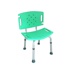 เก้าอี้อาบน้ำอลูมิเนียม มีพนักพิง Aluminum Shower Chair With Backrest - Green