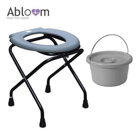 Abloom เก้าอี้นั่งถ่ายพับได้ (พร้อมถัง) Folding Commode Chair - Grey