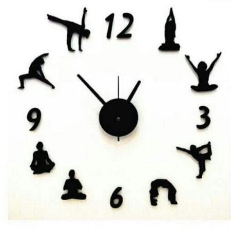 นาฬิกาติดผนัง ลายโยคะ (สีดำ) Yoga Design Wall Clock