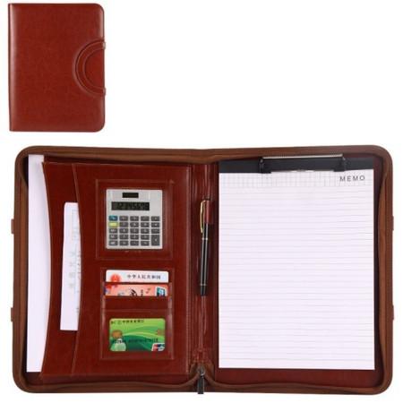 กระเป๋าเอกสาร จัดระเบียบ กระเป๋านักธุรกิจ Business Portfolio Folder Document Case Organizer & Calculator-สีน้ำตาล