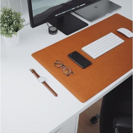 แผ่นรองคอมพิวเตอร์ หนังเทียม พีวีซี Office Desk Mat , Large Mouse Pad (สีน้ำตาล)