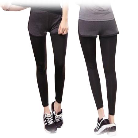 กางเกงออกกำลังกาย ขายาว 2 ชั้น ไซต์ (สีดำ/เทาเข้ม)