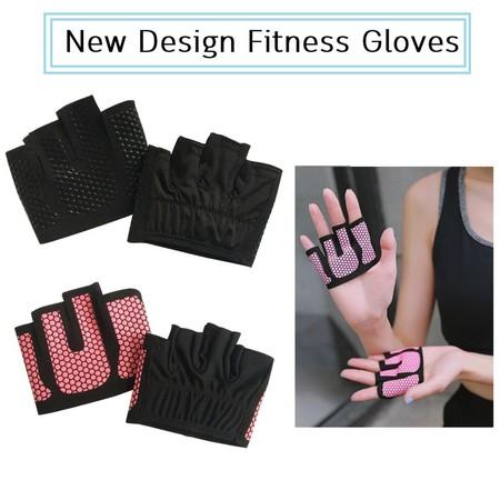 ถุงมือฟิตเนส กันลื่น ดีไซน์ครึ่งฝ่ามือ Half Palm Design Fitness Gloves