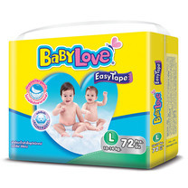 BabyLove Easy Tape ผ้าอ้อมเด็กสำเร็จรูปแบบเทปกาว ขนาดเมก้า(ใหญ่พิเศษ) ไซส์ L (72 ชิ้น)