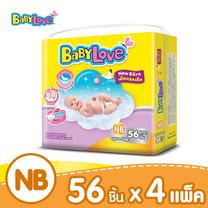 BabyLove Easy Tape ผ้าอ้อมเด็กสำเร็จรูปแบบเทปกาว ขนาดจัมโบ้(ใหญ่) ไซส์ NB (56 ชิ้น x 4 แพ็ค)