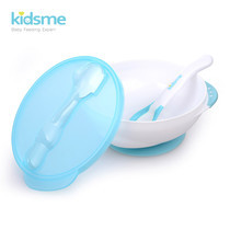 Suction Bowl with Temperature Spoon Set - Aquamarine
