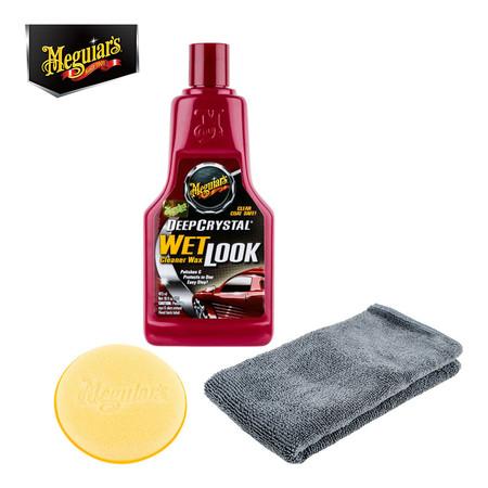 MEGUIAR'S DEEP CRYSTAL WET Cleaner Wax LOOK - 473 มล. (พร้อมผ้าไมโครไฟเบอร์+ฟองน้ำเนื้อนุ่ม)(A-9816)