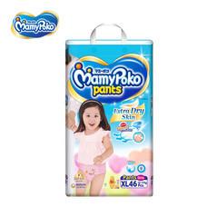 ผ้าอ้อมสำเร็จรูปแบบกางเกง MamyPoko Pants Extra Dry Skin Girls ไซส์ XL 46 ชิ้น