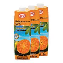 เอโร่ น้ำส้ม 100% ผสมเกล็ดส้ม 1000 มล. x3 กล่อง